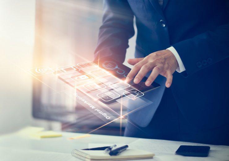 Digital marketing. Businessman using modern interface payments o
